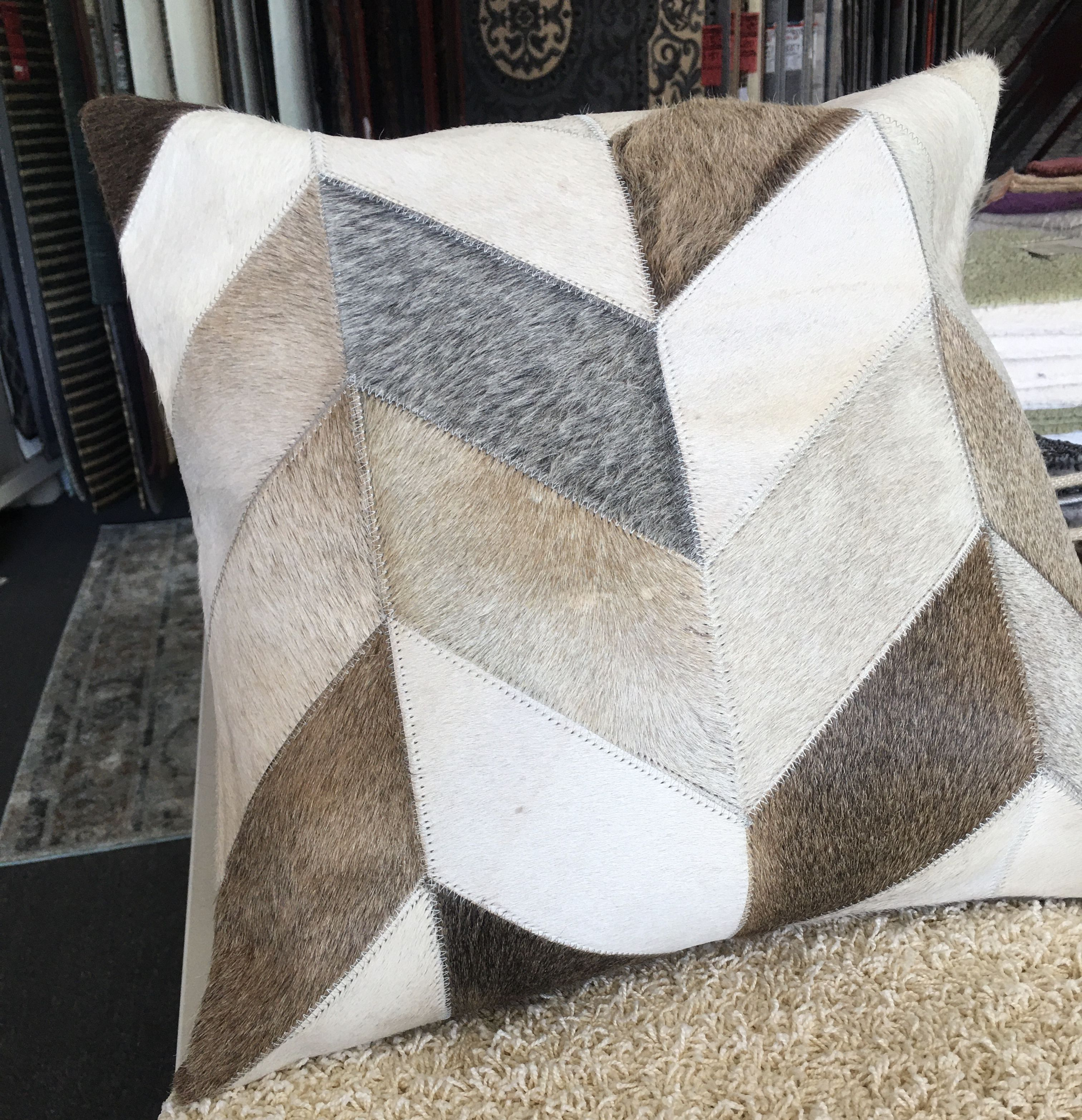 Leather Patchwork Cushion 4