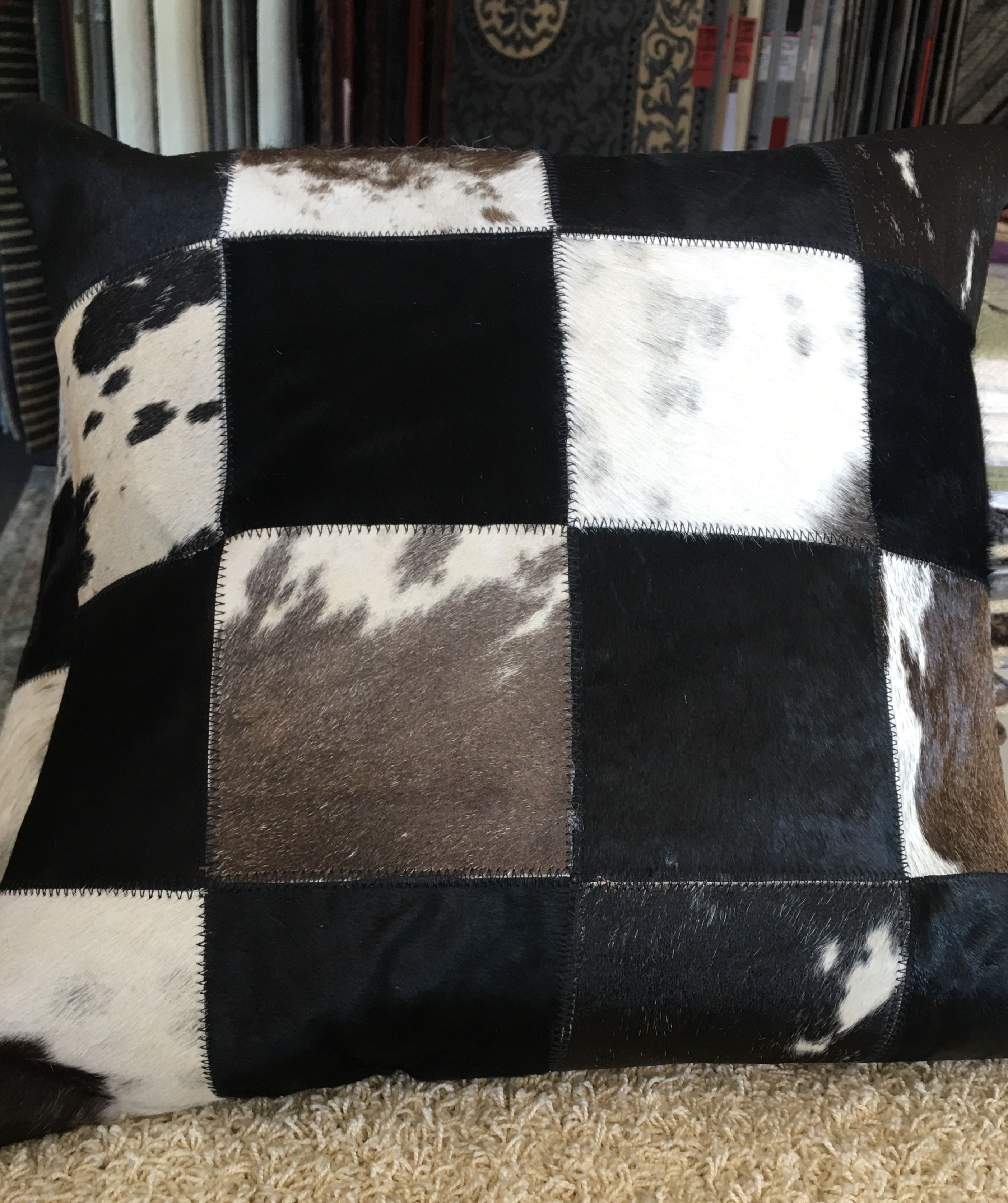 Leather Patchwork Cushion 7